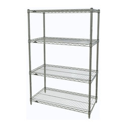 InterMetro Industries - Metro Shelving Unit - 36x14x54 - As the original wire storage shelving system and still the industry leader, Metro shelving continues to evolve and aims to meet the diversity of todays storage challenges. These professional grade units hold more weight. The four (4) shelves can be positioned, or re-positioned, at precise 1 increments along the length of the posts.  Open wire design minimizes dust accumulation and allows for free circulation of air and greater visibility of stored items. Casters (sold separately) available for mobile applications. This post-based shelving system, created in 1965, is recognized worldwide as the most popular commercial shelving system ever.  Assembly required