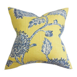 "The Pillow Collection - Behati Floral Pillow Blue Yellow - This beautiful throw pillow features a stellar design. This floral toss pillow features a combination of colors: blue, white and yellow. Use this decor pillow as a statement piece for an awe-inspiring decor theme. Prop up this 18"" pillow on your sofa, bed or love seat. Mix and match with solids and complementary patterns. Made in the US, and fabricated from a blend of 45% rayon and 55% linen. Hidden zipper closure for easy cover removal.  Knife edge finish on all four sides.  Reversible pillow with the same fabric on the back side.  Spot cleaning suggested."
