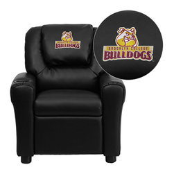 "Flash Furniture - Brooklyn College Bulldogs Embroidered Black Vinyl Kids Recliner - Get young kids in the college spirit with this embroidered college recliner. Kids will now be able to enjoy the comfort that adults experience with a comfortable recliner that was made just for them! This chair features a strong wood frame with soft foam and then enveloped in durable vinyl upholstery for your active child. This petite sized recliner is highlighted with a cup holder in the arm to rest their drink during their favorite show or while reading a book.; Brooklyn College Embroidered Kids Recliner; Embroidered Applique on Oversized Headrest; Overstuffed Padding for Comfort; Durable Black Vinyl Upholstery; Easy to Clean Upholstery with Damp Cloth; Cup Holder in armrest; Solid Hardwood Frame; Raised Black Plastic Feet; Intended use for Children Ages 3-9; 90 lb. Weight Limit; Meets or Exceeds CA117 Fire Resistance Standards; Safety Feature: Will not recline unless child is in seated position and pulls ottoman 1"" out and then reclines; Assembly Required: Yes; Country of Origin: China; Warranty: 2 Years; Dimensions: 27""H x 24""W x 21.5 - 36.5""D"