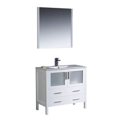 "Fresca - Torino 36"" White Vanity w/ Integrated Sink Bevera Chrome Faucet - Fresca is pleased to usher in a new age of customization with the introduction of its Torino line.  The frosted glass panels of the doors balance out the sleek and modern lines of Torino, making it fit perfectly in eithertown or country decor."