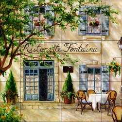 The Tile Mural Store (USA) - Tile Mural - Cafe 7 - Kitchen Backsplash Ideas - This beautiful artwork by Malenda Trick has been digitally reproduced for tiles and depicts a street scene with a cafe.  This street scene tile mural would be perfect as part of your kitchen backsplash tile project or your tub and shower surround bathroom tile project. Street scenes images on tiles add a unique element to your tiling project and are a great kitchen backsplash idea. Use a street scene tile mural, perhaps a Tuscan theme tile mural, for a wall tile project in any room in your home where you want to add interesting wall tile.