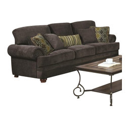 Coaster - Sofa (Smokey Grey) By Coaster - The traditional design of this ultra plush sofa from the Colton collection will create a space that is both comfortable and inviting. This collection features a luxuriously soft smokey grey chenille fabric complimented by the fun, patterned accent pillows. Solid wood legs, and rolled arms with nail head trim add even more flair to the design. Pair with the matching love seat and chair (both available separately) for a complete living room ensemble! May require assembly. Sofa: 89 x 36 x 41H