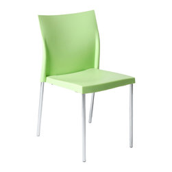 Euro Style - Yeva Side Chair (Set Of 2) - Green/Chrome - Polypropylene in brown, green or white and a solid chromed steel frame. But wait there's more. A very nice design touch that makes Yeva stand out. The seat back has small 'wings' that make the chair extra sturdy and imply armrests without taking up the space.