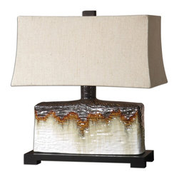 Bronze And Orange Drip Table Lamp - *Textured ceramic base finished in an antiqued ivory glaze with a metallic dark bronze and rusty orange drip.