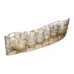 "Rojo16 - Iron Boat  Mercury Glass, Silver/Gold Leaf, Medium(6 Glass) - Inspired by the Sublime beauty of Spain's coast, Rojo 16 Costa Brava Iron Boat will make your style shine, This piece combines detail in design and Mediterranean flare for Everyday living. Consist of 25 votives glasses that serves as holder for Candle (1.5""L x 1.5""W) of your choice. Available in four sizes."