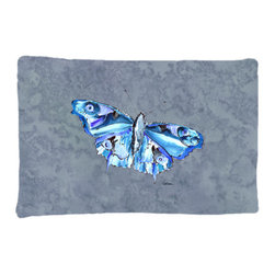 Caroline's Treasures - Butterfly on Gray Fabric Standard Pillowcase Moisture Wicking Material - Standard White on back with artwork on the front of the pillowcase, 20.5 in w x 30 in. Nice jersy knit Moisture wicking material that wicks the moisture away from the head like a sports fabric (similar to Nike or Under Armour), breathable performance fabric makes for a nice sleeping experience and shows quality. Wash cold and dry medium. Fabric even gets softer as you wash it. No ironing required.