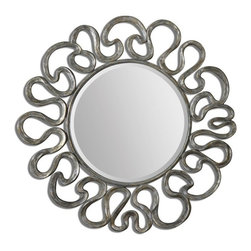 """Uttermost - Uttermost Aeneas Contemporary Round Silver Mirror X-61180 - The Generous, 1 1/4"""" Beveled Mirror Is Accented By A Curvaceous Frame Finished In Silver Leaf With A Light Gray Wash."""