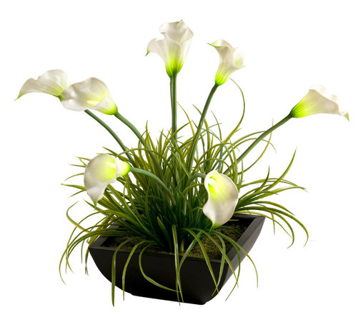 D&W Silks - D&W Silks Lighted Calla Lilies In Square Planter - Lighted Green and White Calla Lilies with Wild Grass