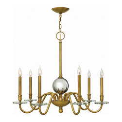 Hinkley Lighting - Hinkley Lighting 4206HB Everly 7 Light Chandeliers in Heritage Brass - Everly�s modern traditional form emphasizes its boldly over scaled construction and is trimmed with thick crystal bobeches. The sleek simplicity allows the large gazing ball to be the focal point of the design for a chic, classic style.
