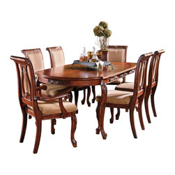 "Steve Silver - Steve Silver Harmony 7 Piece 66x42 Dining Room Set in Cherry - Intricate Georgian-Style Carvings Give the Harmony Dining Collection an Antique Feel, Adding Warmth and Formality to Any Dining Area. The 42""W x 66""-84""L x 30""H Table has a Cherry Finish and Carvings Decorating the Edge of the Tabletop and the Legs. This Stunning Piece Comfortably Seats Six when the Removable 18"" Leaf is in Place. What's included: Dining Table (1), Side Chair (4), Arm Chair (2)."