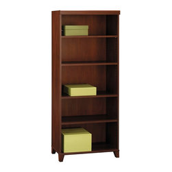 "Bush - Tuxedo 5-shelf Bookcase in Hansen Cherry - Tuxedo's rich Hansen Cherry finish conveys the formal and elegant look of a finely tailored tuxedo.; Two fixed shelves; Three adjustable shelves for storage flexibility; Matches the height of L-Desk/Hutch combination; Perfect component to round out an executive office; Dimensions: 29.57""W x 12.26""D x 69.35""H"