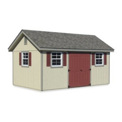 Horizon Structures 16 x 10 ft. Outdoor Garden Shed - Additional featuresExterior dimensions: 16W x 10D x 11H feetInterior dimensions: 15.4W x 9.5D x 10H feetPeak height: 11 feetWall height: 7-feet2 x 4 rafters set on 16-inch centerDoor dimensions: 6W x 6H feet3 windows: 24W x 27H inches (ea)Includes 3 pair of 27H inch vinyl shuttersIncludes 2 pre-assembled wooden gable ventsBig enough for a riding lawn mower, two 60-gallon trash cans, bicycles, and more, the Horizon Structures 16 x 10 ft. Outdoor Garden Shed Kit will have your backyard organized in no time. It's wood construction makes it sturdier and heavier than vinyl or plastic options, and this shed kit comes with 90% of its components precut. It includes a double set of doors and three windows, all of which you can place where you want them. Once you've finished assembly, you're ready to make it your own you're your own paint colors and stains. You'll need five gallons of point or stain for the siding. Use an exterior, latex-based paint or stain for the siding. Use an exterior, oil-based paint for doors and shutters. Ten bundles of shingles will cover the roof. Assembly is a weekend project for one or two people.More about SmartPanel and MiraTEC materialsSmartPanel wall pieces deliver all the warmth and beauty of traditional wood, with the durability and workability of engineered wood. The SmartGuard manufacturing process improves upon nature, creating products that are engineered for strength, performance and protection against fungal decay and termites. MiraTEC Treated Exterior Composite trim combines the eye-catching beauty of cedar with the long-lasting performance of an engineered product. This is not hardboard, so it won't delaminate, and it's moisture-, rot-, and termite-resistant.Tools you will need:Hammer, tape measure, pencil, chalk line, speed square, tin snips, caulking gun, screw gun, circular saw About Horizon StructuresLocated in Atglen, Pennsylvania, Horizon Structures is in the business of housing your beloved pets and outdoor animals. They use fine Amish craftsmanship to craft and install horse barns, garages, storage sheds, stock buildings, and chicken coops for satisfied customers across the country. Purchasing a product from Horizon Structures means that you can rest assured you're buying something crafted with traditional values, honesty, and integrity. Horizon Structures is proud to stand behind their animal-friendly business and way of life, and you and your animals will appreciate the care and attention that goes into each Horizon creation.Please note this product does not ship to Pennsylvania.