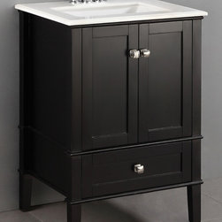 WyndenHall - Windham Black 24-inch Bath Vanity with 2 Doors,Bottom Drawer and White Quartz Ma - Prepare a new place for brushing your teeth and washing your hands by installing this sleek 24-inch bath vanity. The entire cabinet features a matte black lacquer finish that contrasts sharply with the luxurious white marble top and sink.