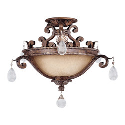 Savoy House - Savoy House 6-5314-3-8 Chastain Semi-Flush - Cast Iron leaves and a New Tortoise Shell and Silver finish with Cream Scavo glass and Clear crystals.