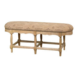 Uttermost L'Artiste Armless Bench - Inspired by the darkened parchment of vintage wine labels, this bench is craftsman built in solid hardwood with sanded cork finish and antique brass accent nails. Inspired by the darkened parchment of vintage wine labels, this bench is craftsman built in solid hardwood with sanded cork finish and antique brass accent nails.