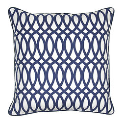 Geo Print Pillow, Blue - Beautifully handmade and hand woven, each pillow is made with a quality fill of 95% feather and 5% down. The Villa Home collection offers a variety of colors, textures and accents that will add a feeling of luxury to your home. The Geo pillow is 55% Jute, 45% Cotton.