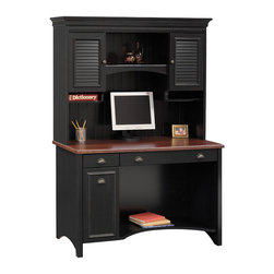 Bush - Antique Black & Cherry Stained Desk w Shutter - The Cherry Top Antique Black Desk with Shutter Cabinet Hutch epitomizes traditional style yet provides modern functionality.  The desk features concealed vertical CPU storage with wire access and a drop-down keyboard/mouse shelf, while the hutch offers capacious storage and display space.  Combine impeccable design, durable materials, and high functionality and you will get this desk and hutch combination.  The computer desk features a cherry finish, a hidden keyboard tray, and a special CPU storage area concealed by a stylish door.  This Desk and Hutch are a welcome break from dull, mundane workspaces . * Includes: Computer Desk & Hutch. Antique Black with Hansen Cherry finish. Drop-down front reveals keyboard/mouse shelf . Manufacturer's warranty: 6 years. Monitor Opening: 21.25 in. W x 11.5 in. D x 18.75 in. H. Desk: 47.401 in. W x 20.764 in. D x 30.724 in. H. Hutch: 48.130 in. W x 12.280 in. D x 38.228 in. H