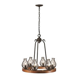 Trans Globe Lighting - Trans Globe Lighting 70577 Chandelier In Black and Wood - Part Number: 70577