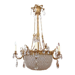 """Baccarat Style Bronze and Crystal Chandelier - Dimensions : 35"""" diameter x 51.5"""" high, An outstanding Louis XVI style chandelier featuring a crystal beaded basket assembled with flowers and beads in a pattern used by Baccarat."""