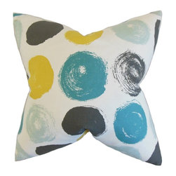 """The Pillow Collection - Easton Geometric Pillow, Blue Dot 18"""" x 18"""" - Bold and modern, this accent pillow is a great addition to your home."""