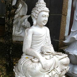"""56"""" Meditating Buddha Marble Sculpture - This solid marble sculpture of meditating Buddha was purchased while traveling in Vietnam a number of years ago. It was crated and shipped here however it has never been unpacked or displayed so it is virtually new."""