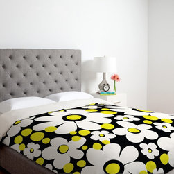 DENY Designs - DENY Designs Khristian A Howell Cape Cod 4 Duvet Cover - 12994-DUWKIN - Shop for Duvets from Hayneedle.com! Personalize your bed with the brilliant design of the DENY Designs Khristian A Howell Cape Cod 4 Duvet Cover. Large daisy flowers are set against a solid black background with bright yellow accents in this custom printed design. Made of 100 percent polyester microfiber material this ultra-soft duvet cover is machine washable for easy cleaning. Small metal snaps are placed along the edges of this cover to ensure a secure closure to any bed. Size options available.About DENY DesignsDenver Colorado based DENY Designs is a modern home furnishings company that believes in doing things differently. DENY encourages customers to make a personal statement with personal images or by selecting from the extensive gallery. The coolest part is that each purchase gives the super talented artists part of the proceeds. That allows DENY to support art communities all over the world while also spreading the creative love! Each DENY piece is custom created as it's ordered instead of being held in a warehouse. A dye printing process is used to ensure colorfastness and durability that make these true heirloom pieces. From custom furniture pieces to textiles everything they make is unique and distinctively DENY.