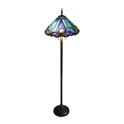 None - Tiffany-style 2-light Bronze Victorian Floor Lamp - Choose these Victorian Tiffany-style floor lamps and you will instantly add style and elegance to any room. The lamp features a rich bronze finish, and the shade features blue, amber, and gold art glass. Measures 63' high x 18' diameter.