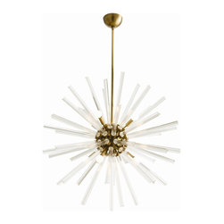 Arteriors Home - Hanley Chandelier - Hanley Chandelier features clear fluted glass triangular rods embedded in a Polished Nickel or Antique Brass sphere with matching rod and canopy. Available in two sizes. Eight 40 watt 120 volt G16.5 candelabra base incandescent bulbs are required, but not included. Polished Nickel finish shown with clear and half chrome candelabra base globe lamps. UL listed. Suitable for damp locations. Small: 30 inch diameter x adjustable 38.5 inch minimum to 52 inch maximum overall length. Large: 37 inch diameter x adjustable 44 inch minimum to 56 inch maximum overall length.
