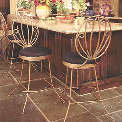 Venice Bar Stools - Elegant and beautiful, these dining chairs are handcrafted by blacksmiths. Our blacksmiths produce each product by hand, here in the USA, so each finished item is always a unique piece. Some customization is available for an up-charge in price. This stool is available in both bar and counter heights on a stationary or swivel base.