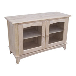 None - Unfinished Solid Parawood Glass-door TV Stand - A contemporary design makes this TV stand the perfect addition to any home or office. Made of durable parawood,this stand is unfinished so you can customize it to match your existing decor.