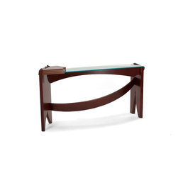 Curved Dovetail Console Table - I approach dovetails as the ultimate expression of structural decoration in my work.  They are once again front and center in this sculptural console table.  One of the legs terminates at dovetails as it becomes part of the working surface of the table.  The glass part of the top is grabbed by this wood bridge and it allows full visual access to the dynamic bent laminations that connect the legs.