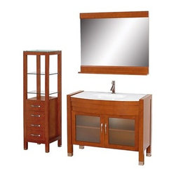 """Modern Bathroom - Daytona 42"""" Bathroom Vanity Set - Cherry - If you're looking for the ultimate complete single-sink glass bathroom vanity, then look no further than the Daytona 42"""" Bathroom Vanity Set. This contemporary vanity is made of glass, marble, or man-made stone and zero emissions wood with modern brushed nickel accents that express its contemporary highlights. The amazing 3/4 inch thick one-piece glass counter and integral sink or solid marble or man-made stone counter give the Daytona vanity the beautiful, clean look necessary in any modern vanity. The side cabinet, mirror and faucet are included in this magnificent vanity set, supplying you with everything you need for your bathroom remodel. All counters are pre-drilled for a single-hole faucet. White Carrera and ivory marble counters now available with your choice of single-hole or 3-hole faucet mount! Available in additional sizes, finishes and counter options. Features Constructed of solid, environmentally friendly, zero emissions wood, engineered to prevent warping and last a lifetime Includes single-hole or widespread 3-hole faucet mount Includes drain assembly and P-trap Includes mirror and side cabinet Please note that backsplashes MUST be ordered at the same time as the vanity and counter. They cannot be shipped as separate items.--> How to handle your counter Spec Sheet for vanity and mirror Spec Sheet for WC-K-W045 Installation Guide for VanityDimensions   Width Depth Height Vanity 41 3/4 21 3/4 33 1/2 Mirror 42 5 33 Cabinet 16 1/4 16 59 3/4 Natural stone like marble and granite, while otherwise durable, are vulnerable to staining from hair dye, ink, tea, coffee, oily materials such as hand cream or milk, and can be etched by acidic substances such as alcohol and soft drinks. Please protect your countertop and/or sink by avoiding contact with these substances. For more information, please review our """"Marble & Granite Care"""" guide."""