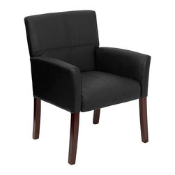 Flash Furniture - Reception/Office Executive Side Chair w Leath - This reception/office chair blends modular shaping with a refined club design. It's understated in detail with beautiful and rugged bicast leather supported by exposed wood legs. So good looking, it's an appropriate choice as a side chair for executive spaces, too. Reception or office side chair. Black Bycast leather upholstery. Back and seat embroidery stitching. Mahogany finished legs. Pictured in Black. Seat: 18.25 in. W x 19 in. D. Seat Height: 19.75 in. H. Back: 23 in. W x 17.25 in. H. Arm Height: 6.5 in. H (from seat); 25.25 in. H (from floor). Overall: 26.5 in. W x 23 in. D x 35.25 in. H (38 lbs.)