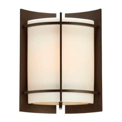 Quoizel Lighting - 11-Inch Modern Outdoor Wall Light - NN8309WT - Contemporary / modern western bronze 1-light outdoor wall light. Grace the exterior of your home with this bold, architectural look. The clean sleekness of the metalwork perfectly sets off the opal etched amber glass, which diffuses the light and has a touch of warmth in the color. Takes (1) 100-watt incandescent A19 bulb(s). Bulb(s) sold separately. ETL listed. Wet location rated.