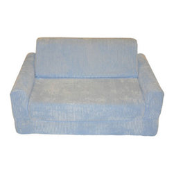 Fun Furnishings - Fun Furnishing Sofa Sleeper with Pillows Blue Chenille - The sofa and chair sleepers are the perfect place to sit to read, watch TV or play a game. When it is time to take a nap or find a place for a little friend to spend the night, flip open the chair or sofa, add a blanket and pillow and you are all set. Grandparents love having one at their home too! Built-in Durability We have worked hard to make our furniture durable and help it retain its appearance. We include a layer of fiber on the seating surfaces to keep the fabric tight much longer. Even so, furniture does wear with use. Here are some tips to help you keep it looking good while your kids enjoy it: 1. Jumping on the furniture is safe and a lot of fun, but it will make the piece look tired sooner. 2. Sitting or jumping on the arms of the furniture is not recommended.  3. As a result of acrobatic use the fabric may stretch. You can use a steamer or mister to lightly dampen the fabric with distilled water. As the fabric dries it will shrink slightly and look almost like new again. Cleaning the Cover:  We use only fine upholstery-grade fabrics that can take lots of use from kids. Our Micro Suedes, denims and chenilles are all washable.  But we cannot prevent the covers from getting dirty. Here's what you can do to keep them looking new:  1. Blot up spills immediately. Surface wash any remaining stains with a mild, non-toxic cleaner. Do not rub too hard or use a strong cleaner; you will remove the fabric's finish and possibly some color too. 2. The furniture covers are removable. We recommend dry cleaning to keep the covers looking their best as long as possible. 3. You may apply a scotch-guard type treatment to protect the covers. If you choose to do this always start with a small amount on the bottom of the piece to make certain the fabric will not be damaged. 4. The white bed surface is a poly/cotton blend and can be cleaned with stronger stain removers. Slipcover Removal Instructions 1. Unzip and remove the backrest cushion 2. Unzip and remove the seat cushion 3. Unzip the bottom panel and remove the cover from the frame 4. Reassemble in the following order: a. replace the cover on the frame b. adjust to obtain a snug fit at all the edges and corners c. zip the bottom panel closed d. insert the seat cushion, rounded edge first with the padding facing toward you and zip closed (assuming you stand in front of the sofa) e. insert the back cushion, rounded edge first with padding facing away from you and zip closed (assuming you stand in front of the sofa placing the cushion in downwards) Inserting the Backrest Cushion 1. Insert the backrest cushion with the padding facing up and the rounded   edges in first. 2. Make sure that the cushion is pushed completely to the back of the fabric pocket and make sure the corners of the foam fit into the corners of the fabric pocket. 3. Once the foam piece is aligned properly into the fabric pocket, zip the fabric pocket shut. Take Note: If the foam piece is not fitted into the fabric pocket properly, the seat cushion and the back rest will not lay flat when assembled in the seated position.