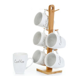 "Concepts Life - Concepts Life Mug Set  Subtle Scripts, Set of 6 - This stonewear white tea and coffee set features elegant script labels on generously sized mugs - an stylish and functional addition to any table. The set does NOT include the wooden stand. Makes an ideal housewarming gift and comes wrapped in a gift box.  Set of six (6) tea or coffee cups. Cups are crafted from 100% high-quality stoneware Baked and glazed at high temperatures for extra durability Dishwasher safe Cups measure: 4""h and 3"" in diameter Product Weight: 5 lbs"
