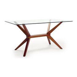 Aeon Furniture - Greenwich Glass Top Dining Table in Warm Cherry - High Quality 10 mm Glass Top. Solid Beech Wood Cherry Finished Base. Comfortably Seats 6 People. CARB Rated. Assembly Required. Base: 24 in. L x 45.5 in. W x 29 in. H. 59 in. L x 35.5 in. W x 29.5 in. H (106 lbs.)This charismatic dining table is brilliantly crafted featuring a high quality innovative design.  The clear rectangular tempered glass table top rests on a stylish angular designed solid beech wood stained base with aluminum center trim.