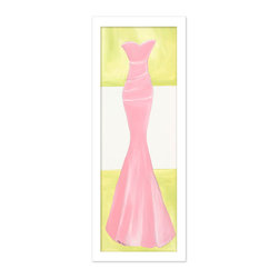 "Doodlefish - Pretty in Pink in White Frame - Our new Pretty in Pink Gown comes as a Stretched Canvas or as a mounted piece of artwork in your choice of frames.  The pink mermaid style dress has a pretty green and white striped background.  The artwork is 12"" x 36 as a stretched canvas.  With the frame, the finished size is approximately 14"" x 40""."