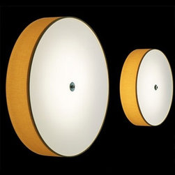 Modoluce - Modoluce Discovolante wall or ceiling light - The Discovolante wall sconce fromModoluce has been designed by Paolo Grasselli in 2004. This wall mounted luminaire is great for fluorescent lighting. The Discovolante is cylindrical in shape and constructed of an opal plexiglass finishing disc with the diffuser available in a variety of fabrics and textures including: Cotton fabric, lycra, ecopelle, PVC metal and pleated fabric. There is an array of color options available for each fabric choice. The cotton fabric option is available in: ivory, white, lobster, red, plum, black, brown, acid green, sand, gold, orange, lilla, blue and grey. The Lycra option includes: white, calendula, red, fucsia and pistacchio. Ecopelle is available in: white, red, black, aubergine and fucsia. The pleated fabric option offers: white, beige, black, brown and red. This pendant light is also available in PVC metal with either a satin finish or chrome coloring. The Discovolante wall sconce exhibits a dazzling and versatile design, along with quality craftsmanship, that is sure to brilliantly illuminate any contemporary environment.  Product Details:  The Discovolante wall sconce fromModoluce has been designed by Paolo Grasselli in 2004. This wall mounted luminaire is great for fluorescent lighting. The Discovolante is cylindrical in shape and constructed of an opal plexiglass finishing disc with the diffuser available in a variety of fabrics and textures including: Cotton fabric, lycra, ecopelle, PVC metal and pleated fabric. There is an array of color options available for each fabric choice. The cotton fabric option is available in: ivory, white, lobster, red, plum, black, brown, acid green, sand, gold, orange, lilla, blue and grey. The Lycra option includes: white, calendula, red, fucsia and pistacchio. Ecopelle is available in: white, red, black, aubergine and fucsia. The pleated fabric option offers: white, beige, black, brown and red. This pendant light is also available in P