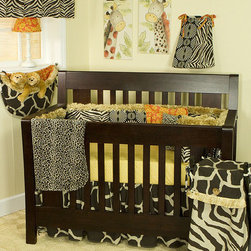 Cotton Tale Designs - Zumba 8 Piece Crib Bedding Set - A quality baby bedding set is essential in making your nursery warm and inviting. All N. Selby patterns are made using the finest quality materials and are uniquely designed to create an elegant and sophisticated nursery. Zumba is a combination of fun animal prints and African art, all of 100% cotton duck. The Zumba 8 pc Set includes 4 Pc bediing set(dust ruffle, crib sheet, bumper, and coverlet), diaper stacker, toy bag, pillow pack, and valance. 4 sectioned bumper with fringe trim and patch work front and back. 250 thread count cotton sheet in gold pebble print. Giraffe print bed skirt and soft, reversible cheetah coverlet. The Zumba Diaper Stacker is patched in all patterns, with fringe. This convenient diaper stacker holds up to 6 dozen newborn diapers. Toy bags are very practical in the nursery. They can be attached to the wall for decoration or tied to the changer for supply storage. Zumba Toy Bag in giraffe skin print with Masi print lining and fringe trim is very special. It has about a 10 lbs capacity.The Zumba Pillow Pack has two unattached pillows, measuring 15x15 and 12x12. The flanged masi floral with coconut button and one in soft cheetah skin. These pillows are for a decorative touch and should never be used in the crib. Spot clean only.The Zumba Valance in zebra attaches to decorative rod with Masi ties. Valance measures 55 x 16. Can be used straight or shirred. Cotton and polyester shell with poly fill. Neutral pattern. Wash gentle cycle, cold water, separately. Tumble dry low or hang dry. Neutral
