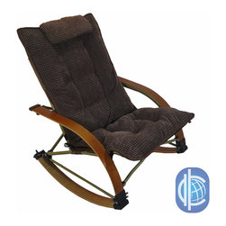 International Caravan - Folding Bentwood Rocking Chair with Extendable Footrest and Removable Cover - Add a touch of comfort and vintage style to your indoor furnishings with the Folding Bentwood Rocking Chair. This comfortable chair features a removable, chocolate-colored corduroy seat pad and an extendable footrest for added comfort.