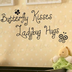 Decals for the Wall - Wall Decal Quote Vinyl Sticker Art Removable Butterfly Kisses Ladybug Hugs B03 - This decal says ''Butterfly kisses, ladybug hugs''