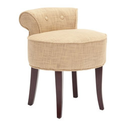 Safavieh - Safavieh Georgia Vanity Stool X-E6454RCM - The adorable Georgia vanity chair is petite enough to tuck in a bathroom or bedroom, and brimming with feminine style. Graceful mahogany-toned birch wood legs, deep seat and diminutive button tufted back are designed for indulgent comfort.