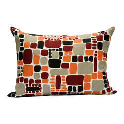 "Area Inc. - Pebbles Orange X-Small Decorative Pillow 12X18"" - Area Inc. - Add a fun, bright print to your couch or bed with the 12-by-18 inch Pebbles Orange Decorative Pillow. This pure linen pillow features softened square shapes in black, taupe, orange and red on an off-white background. Includes a feather down insert. Display it against solid colors for a dramatic contrast."