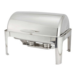 Winco - Winco 8-Quart Madison Stainless Steel Rectangular Roll Top Chafing Dish - Entertain in style with this elegant and modern 8-quart oblong chafing dish from the Madison Collection by Winco. Defined by beautiful,smooth clean lines,this collection is perfect for chic events that require serving food in a buffet setting.
