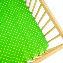 Aunt Bucky Lemon Drops Flannel Fitted Crib Sheet - Bright colors stimulate a baby's senses, so these lime green sheets are sure to get your baby's neurons firing. Who doesn't love a traditional polka dot print?