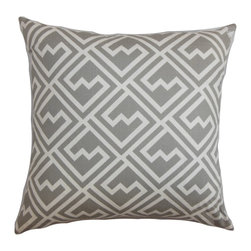 The Pillow Collection - Ragnhild Geometric Pillow Gray - This elegant and sleek throw pillow is the easiest way to update your home decor. This square pillow is plush and made of 100% soft cotton fabric. Provide comfort and style to your living room, bedroom, lounge area with this decor pillow. Adorned with a geometric pattern in white and set against a gray background. Pair it with a matching print or solids for an unconventional decor style. Hidden zipper closure for easy cover removal.  Knife edge finish on all four sides.  Reversible pillow with the same fabric on the back side.  Spot cleaning suggested.