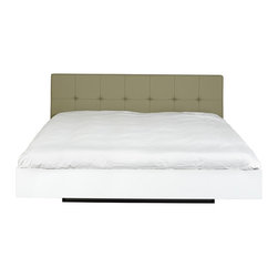 Temahome - Temahome Float Bed, High-Gloss-White, Grey-Leather-Headboard, King - A minimalist design with a twist of oriental inspiration.