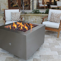 """Hidden propane tank fire pit - Crafted out of stainless steel, the 35"""" square Hidden Tank Fire pit has a subtle brushed finish."""