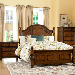 Homelegance - Homelegance Langston 3 Piece Poster Bedroom Set in Brown Cherry - An updated take on classic country style, the Langston Collection blends effortlessly into your cozy bedroom. Cannonball finials top the bedposts, while distinct framing adds to the classic design of the bed. Metal knob and bale hardware adorn each case piece, as do rounded pilasters. Further completing the collection is the rich burnished pine finish. - 1746-PSB-3-SET.  Product features: Langston Collection; Brown Cherry Finish; Classic country style; Cannonball finials top the bedposts; Metal knob and bale hardware. Product includes: Poster Bed (1); Nightstand (1); Chest (1). 3 Piece Poster Bedroom Set in Brown Cherry belongs to Langston Collection by Homelegance.